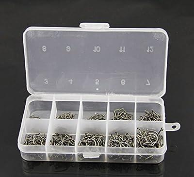500 Pcs Mixed Sizes 3#-12# Black Silver Fishing Hooks Plastic Box