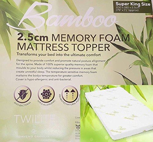 Quality Bamboo Memory Foam Mattress Topper 1' Ultrasoft Memory Foam, Orthopedic, Hypoallergenic(Double: 135 x 190 cm)