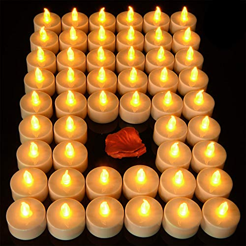 Pandaing 24 Pack Battery Operated Flameless LED Tea Light Fake Candles for Votive, Party, Weddings, Birthdays, Mother's Day, Halloween, Thanksgiving, Christmas Decorations