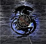 TIANZly Reloj de Pared de Vinilo película de Terror Mural Retro Disco de Vinilo Reloj Plato Hombre...