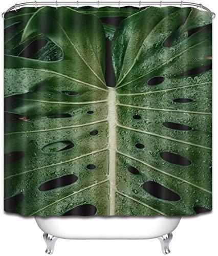 Douchegordijn tropische planten polyester stof waterdicht en meeldauw 3D Hd afdrukken huisdecoratie 180x 200cm 12 haken