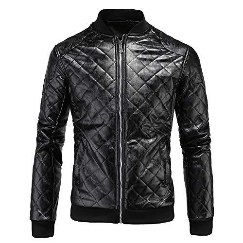 Para hombre Chaqueta de cuero con cremallera Collar de cuero collar de cuero del diamante de los hombres de la chaqueta de cuero de los hombres de Negro Marrón Casual chaqueta de motociclista