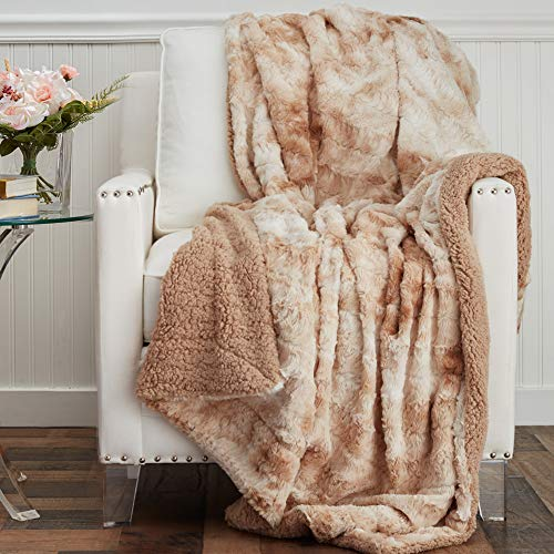 The Connecticut Home Company Soft FluffyFaux Fur Bed Throw Blanket, Luxury Sherpa Reversible Blankets, Comfy Plush Washable Accent Throws for Sofa Couch, Fuzzy Home Bedroom Decor65x50, Beige Tie Dye