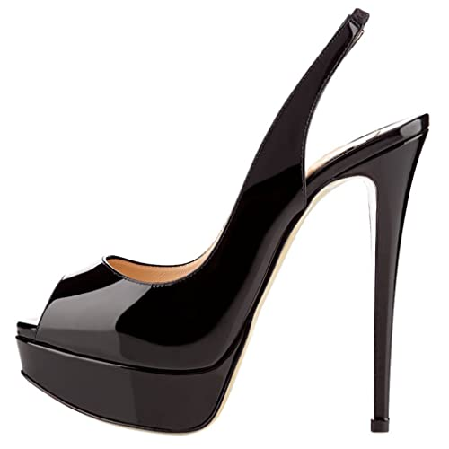 MERUMOTE Women s Slingbacks Peep Toe High Heels Shoes Platform Pumps  Gradient Wedding Party 5537b31846f6