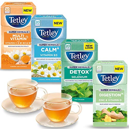 4x Bundle Tetley Super Herbals | Multivitamin Turmeric and Camomile | Digestion Mint & Ginger | Calm Camomile, Fennel and Cinnamon | Detox Mint