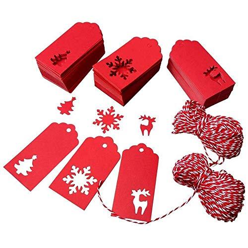Etiquetas de papel de 150 piezas, etiquetas navideñas de Kraft, etiquetas colgantes, diseño de reno de árbol de Navidad, manualidades y manualidades