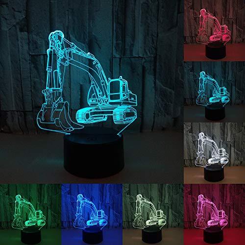 RUMOCOVO® Lámpara De Mesa Táctil 3D Ilusión LED Excavadora Luz De Noche 7 colores USB Novedad Atmósfera Lámpara De Luz De Noche Niño Regalo De Navidad