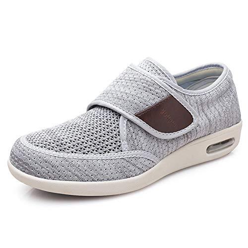 B/H Calzado para Personas DiabéTicas,Zapatos para Hombres Mayores, Zapatos de papá con colchón de Aire Ligeros y portátiles-Gris Claro Yarn_44