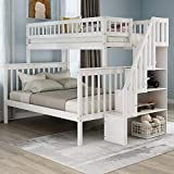 Solid Wood Twin Over Full Bunk Beds with Storage Drawers, Kids Bunk Beds with Twin Trundle Bed (White Bunk Beds)