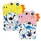 Aceshop 2 Pack Baby Teething Mitten, Baby Beißhandschuhe, Knisternder Handschuh für Babys, Age 3-18 Months(Cartoon-Stil)