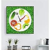 Stampe su tela Orologio Verdure Poster Frutta Piatto Creativo PomodoroPittura murale DecorazioneCucina Decor 70x70 cm Frameless