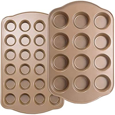 Joho Baking Nonstick Muffin Pan, Mini Cupcake Pan Set, Muffin Tins for Baking, 2 Pack, 12-Cup and 24-Cup, Gold