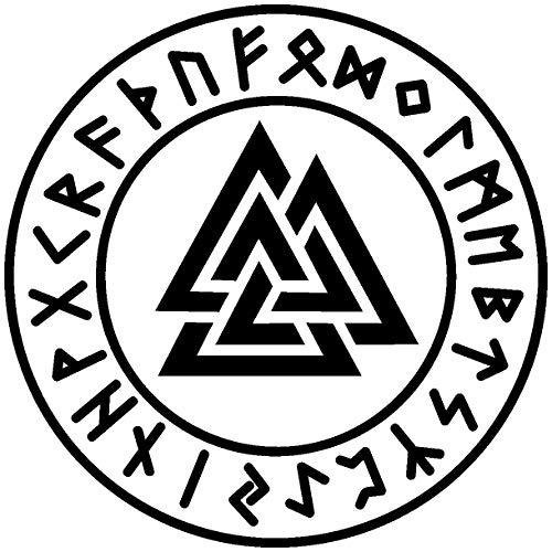 Samunshi® Wandtattoo Valknut mit Runen 1 Wotansknoten Wandaufkleber Wandsticker Aufkleber in 8 Größen und 19 Farben (20x20cm schwarz)
