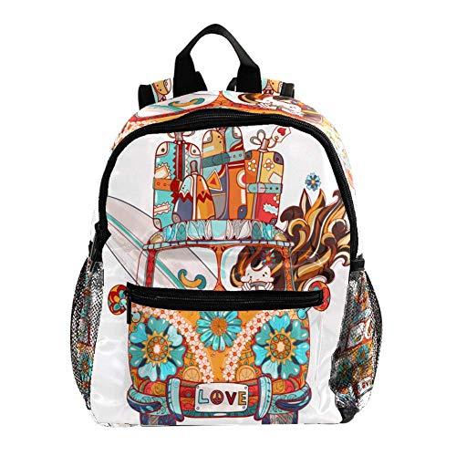 Rucksack für Mädchen Kinder Schultasche Kinder Büchertasche Frauen Casual Daypack Weiß Gitarre Instrument Weiß-Orange Auto-Karton 25.4x10x30 CM/10x4x12 in