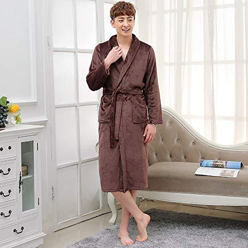 Amantes Vestido para Hombres Y Mujeres Cálido Súper Suave Franela Coral Fleece Bata De Baño Larga Kimono para Hombre Albornoz Bata Masculina Batas M Mencoffee