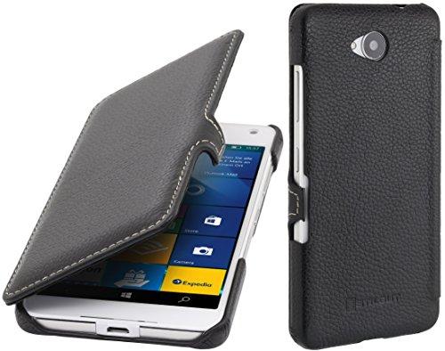 StilGut Book Type Case mit Clip, Hülle aus Leder kompatibel mit Microsoft Lumia 650/650 Dual SIM, Schwarz