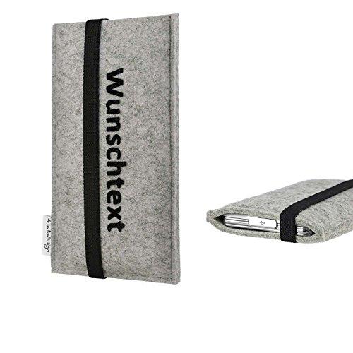 flat.design Handy Hülle Coimbra für Shift Shift6m maßgeschneiderte Handytasche Filz Tasche Case schwarz grau