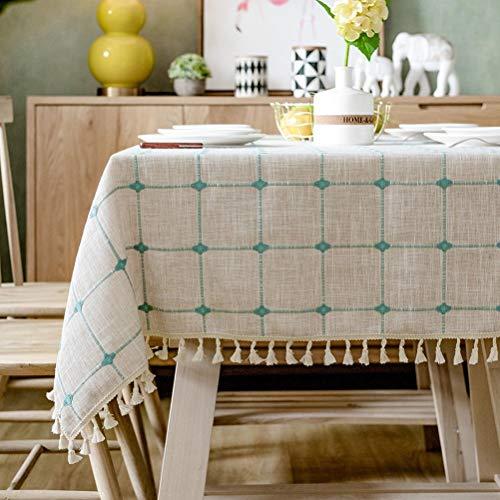 Mantel moderno simple de entramado de algodón y lino con borlas nórdicas a prueba de polvo para mesa de cocina, comedor, decoración de mesa (color A, tamaño: 130 x 130 cm), B, 130x130cm