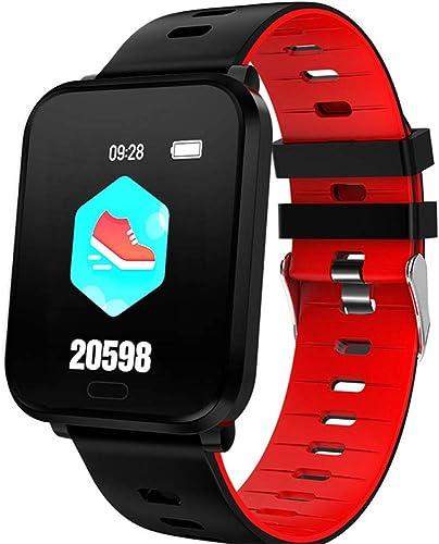 ZLOPV Montre Intelligente Montre Smart Watch IP68 Montre de Surveillance de la fréquence Cardiaque de Moniteur d'activité Cardiaque étanche à la Pression artérielle Smartwatch, Rouge