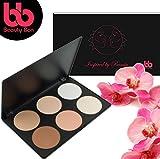 Conjunto de contornos de Beauty Bon, 6colores, entallado facial profesional, paleta de coloretes y correctores para camuflaje y encubrimiento