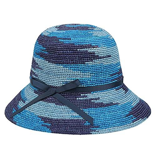 Serrale Sombreros de Fishman, Sombrero de Paja de Rafia de Ganchillo Fresco de Verano al Aire Libre, Protector Solar para Mujer, Sombreros para el Sol-A