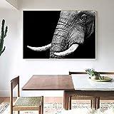 KWzEQ Arte Moderno de la Pared póster en Lienzo Negro Elefante Africano Arte Animal decoración de la Sala de Estar,Pintura sin Marco,30x45cm