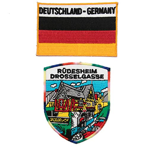 A-ONE 2 Stück Ruedesheim Hot Leather Patch + Deutschland-Flagge 3D Tactical Patch Rüdesheim Applique Patch Dekoration für Kleidung Rucksack