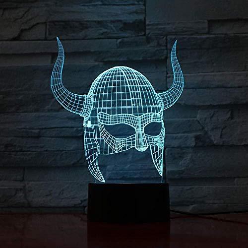 3D ilusión lámpara lámpara de proyección lámpara Dense Viking helmet Ilusión Lámpara de mesa Luces con para la decoración del partido Presentes de cumpleaños Con carga USB, control táctil de c