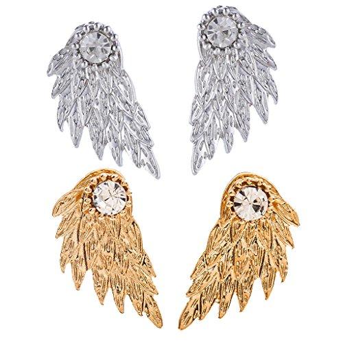 dailymall 2 Pares de Pendientes de ala de Plumas de ángel de Moda para Mujer