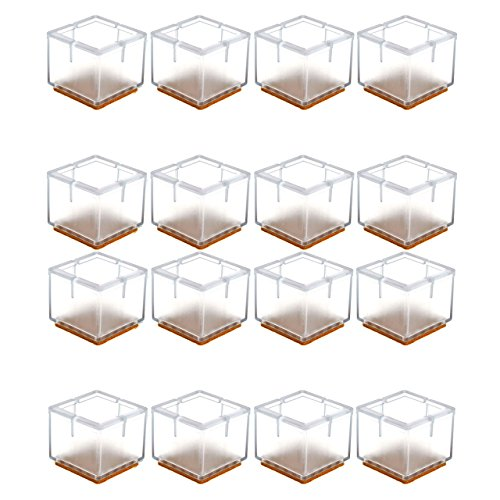 Mogoko 16 x Stuhlbeinkappen Silikon Fußboden Stuhlbein Schutz Öffnungs Caps Möbel Tischabdeckung Furniture Table Chair Legs Feet Covers Pads Protectors für 33-35MM Quadratisch Beine (Transparent)