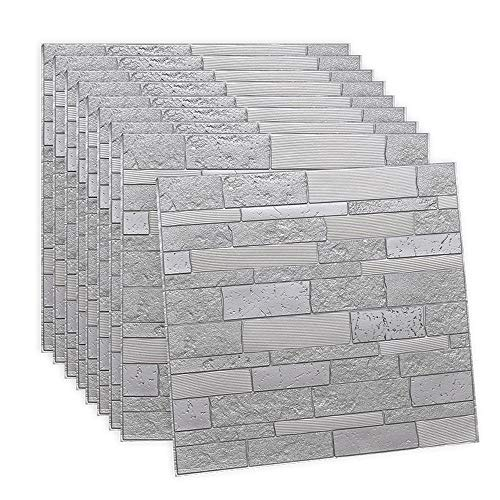 CROWNXZQ 10 Stück 3D Brick Wallpaper Peel and Stick Panels, weißer Textureffektkleber für Badezimmer, Küche, Wohnzimmer Home Decoration Quadratfuß-Abdeckung