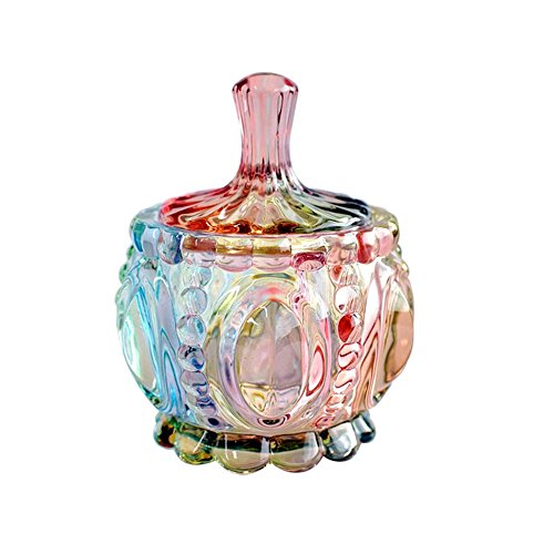 SOCOSY Royal Embossed Clear Glass Apothecary Jar With Lids , Candy Jar Containers Wedding Candy Buffet Jars Crystal Jewelry Box Food Jar 7oz