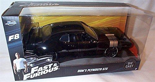 Jada Fast & Furious 8 F8 Black Doms Plymouth GTX Auto 1:24 Maßstab Druckguss-Modell