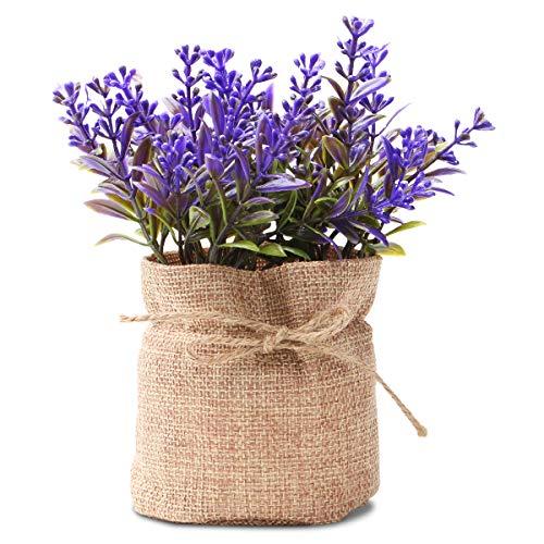 Epartswide Mini Artificial Plants,Lavender Flowers Fake Plants,Plastic Plant in Burlap Farmhouse Decor for Bathroom Home Kitchen Office(Purple)