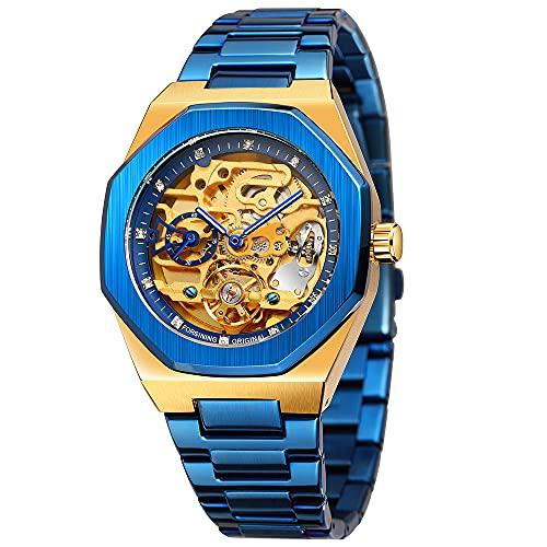 Reloj mecánico para hombre, moderno, automático, de acero inoxidable, color azul