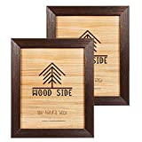 Rustic Wooden Picture Frame 8x10 - Brushed Brown Wenge - Set of 2-100% Natural Eco Solid Wood with High Definition Real Glass for Wall Mount Photo Frame