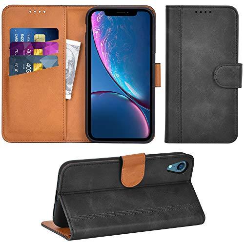 Adicase iPhone XR Hülle Leder Wallet Tasche Flip Hülle Handyhülle Schutzhülle für Apple iPhone XR (Dunkelgrau)