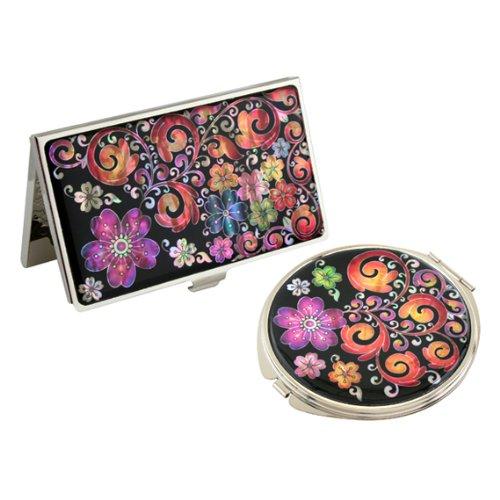 Antique Alive Mother of Pearl Purple Arabesque Flower design Business carta di credito, con specchio compatto set (B121)