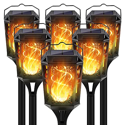 KYEKIO Solar Lights Outdoor Decorative, 6Pack Solar Tiki Torches with Flickering Flame, Upgraded Waterproof Landscape Pathway Flame Torch Light Hanging Lantern for Garden Patio Yard Party, Auto On Off
