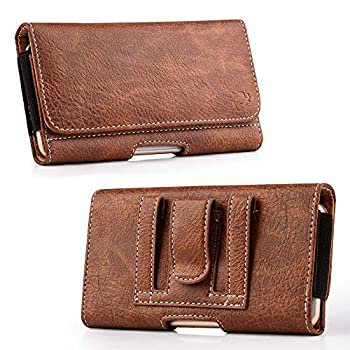 Luxmo [Wallet Series] Samsung Galaxy A01 Belt Holster - PU Leather Phone Case Carry Pouch with Card Slots/Coin Holders and Atom Wipe - Brown