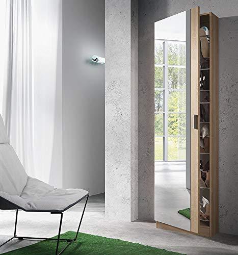 Habitdesign Zola S01 Scarpiera con Specchio, 50x20x180 H cm, Rovere Spazzolato, Melamina, quercia naturale, melammina, 18 pairs