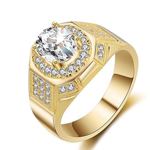 New Fashion Jewelry 18k Gold Rings for Men AAA Cubic Zirconia Diamond Engagement Wedding Mens Ring(Gold,13)