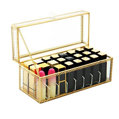 Make-Up Etuis Cosmétique Organisateur cosmétique Boîte de Rangement Transparent Rouge à Lèvres Boîte de Rangement Antipoussière et Tomber Transparent (Color : Clear-Gold, Size : 23*10*10cm)
