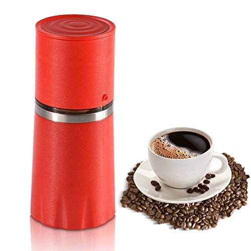 ZNZ Manual Coffee Grinder Filter Cup Coffee Brewer, Portable Coffee Maker, All-in-One Coffee Machine Cup for Travel Home Gift (Red)