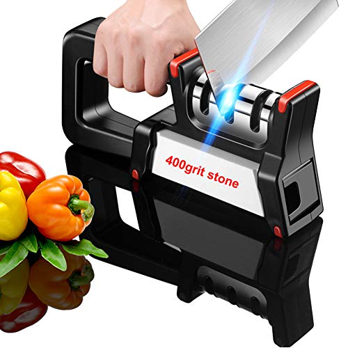 Professional Kitchen Knife Sharpener 3 Stage with Sharpening Stone 400grit, Upgrade Chef's Sharpener System Helps Repair, Restore and Polish for Kitchen, Hunting and Pocket Knives or Blades