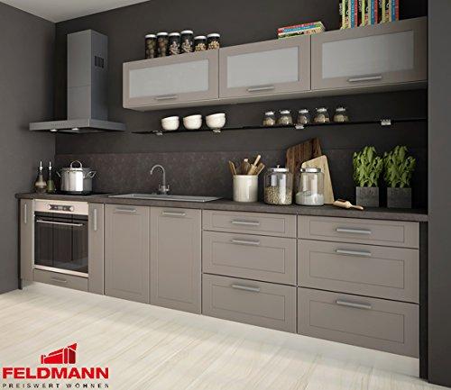 Unbekannt Küchenzeile 169021 Küche 9-teilig 290cm Jersey/beige matt