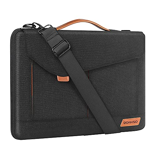 DOMISO Laptoptasche 13.3-14 Zoll Notebooktasche Schulter Tasche Bussiness Laptoptasche für Frauen und Männer-Schwarz