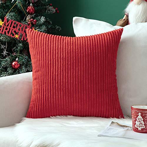 MIULEE Kordsamt Zierkissenbezug ohne Füllung-Zierkissenhülle Dekorative Kissenbezug Dekokissen Kissenhülle mit Verstecktem Reißverschluss 24x24 Zoll 60 x 60 cm Rot