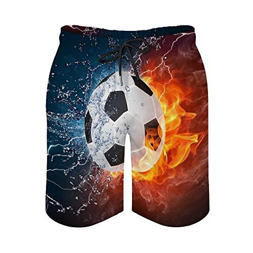 MayBlosom Pantalones cortos de playa para hombre, pelota de fútbol en el fuego y agua, secado rápido, traje de baño casual hawaiano, fiesta de vacaciones, trajes de baño con elástico