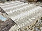 Alfombra pequeña de algodón a rayas de yute tejida a mano, tejido plano, color blanco...